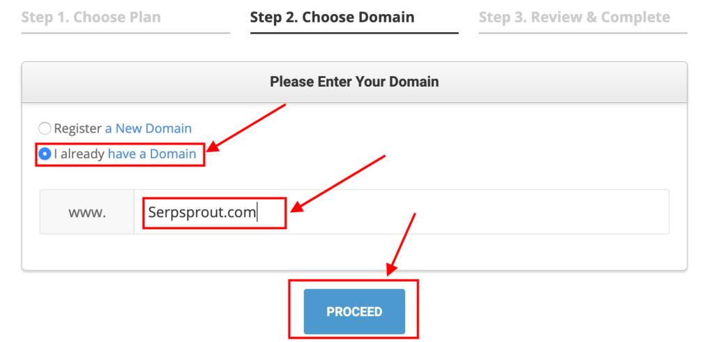 Select the Box I already have a Domain.