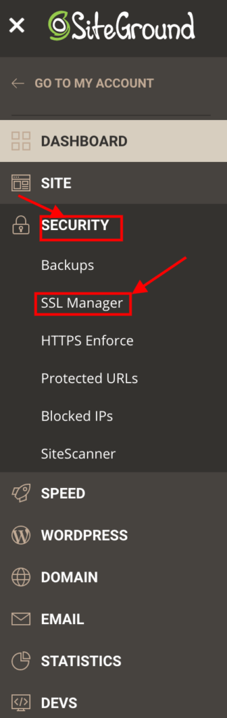 Click on Security and then click on SSL Manager.