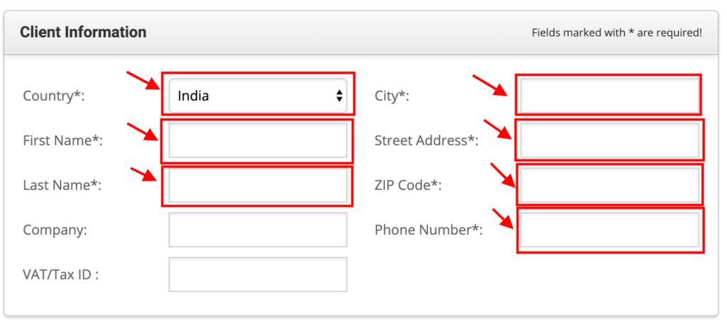 Enter Your Client Information.