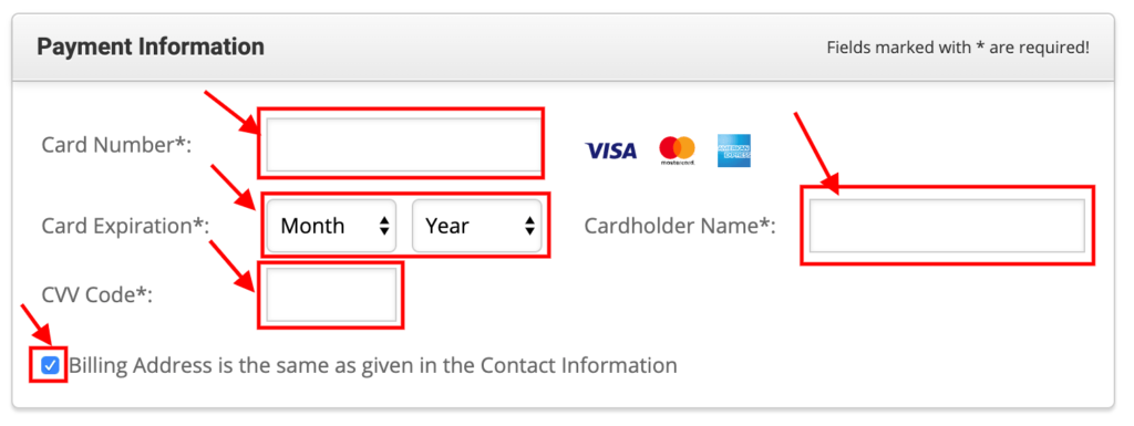 Enter Payment Information.