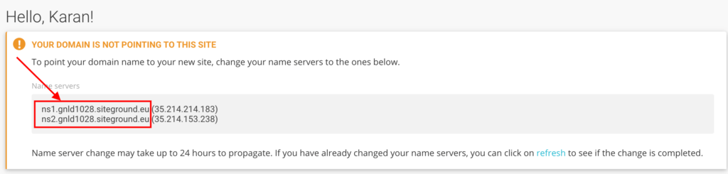 Nameservers details in siteground.