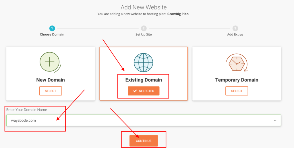 Select the existing domain and enter domain name.