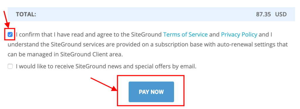 Confirm and Click on pay now