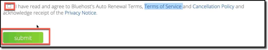 Select Terms of Service and Cancellation Policy