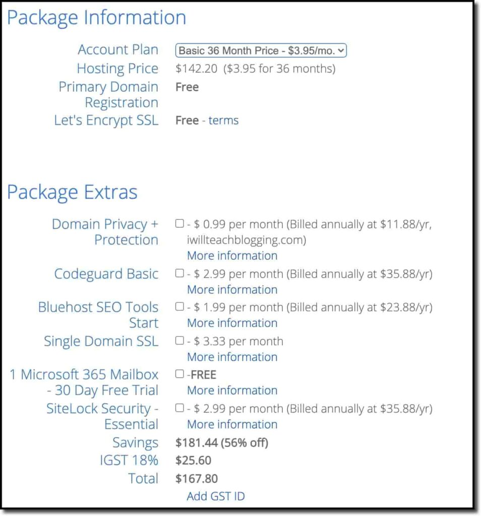 Select You Account Plan and Package Extras
